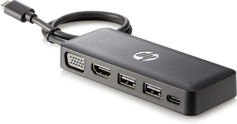 HP USB-C Travel HUB nodo concentrador USB 3.0 (3.1 Gen 1) Type-C Negro - repuestos moviles originales -2