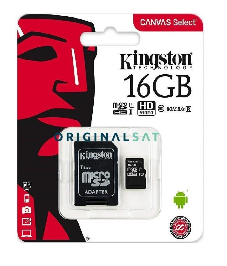 MEMORIA MICRO SD HC ORIGINAL KINGSTON 16 GB CLASS 10