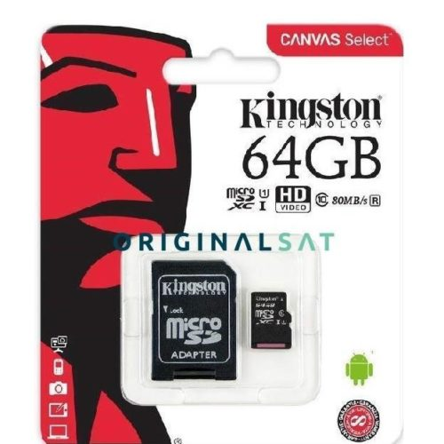MEMORIA MICRO SD XC ORIGINAL KINGSTON 64 GB CLASS 10